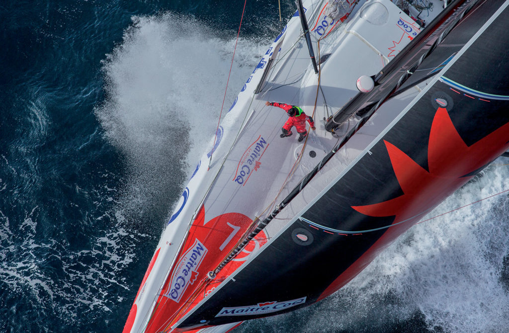 Skippers Jeremie Beyou and Philippe Legros (Fra) training onboard IMOCA Maitre Coq before the start of the duo race Transat Jacques Vabre 2015, from Le Havre (France) to Itajai (Brazil), off Groix, south brittany on september 16, 2015 - Photo Jean Marie LIOT / DPPI / Maitre Coq
